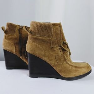 Franco Sarto Suede Lace Up Wedge Booties Size 6